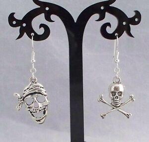 Tibetan Silver Pirate Earrings,Skull & Crossbones,925 Silver Hook.Handmade