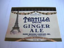 Rare Home Beer - Brewing 12Oz Bottle Label Tantilla Ginger Ale Soda Richmond Va