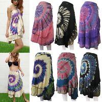 Tie Dye Wrap Around Sarong Long Skirt Beach Cover Hippie Gypsy Lagenlook WSTD