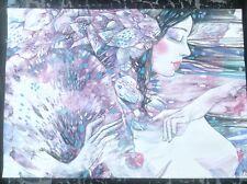 Mujer desnuda arte original chica sexy pinup erótico pintura de acrílico color morado fantasía