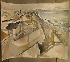 Jacques Despierre Aquarelle originale watercolor drapeau hollandais Netherland