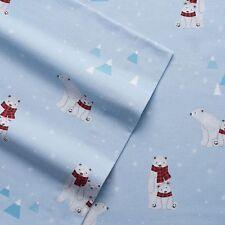 NWT $99 CUDDL DUDS QUEEN BLUE FLANNEL SHEET SET POLAR BEARS SNOWFLAKES