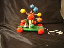 Vintage Kouvalias pull toy colorful bell wooden Greese childs decor art wheel