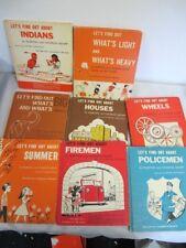 VINTAGE KIDS BOOKS (8) LETS FIND OUT ABOUT WHEELS POLICEMEN FIREMEN INDIANS MORE