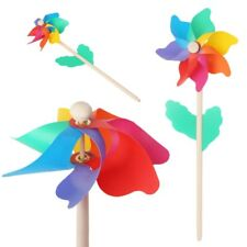 Windmill Wood Stick Lawn Yard Garden Ornaments Colorful Outdoor Spinner Kid Toys
