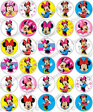 30 x Minnie Mouse Partie collection comestibles riz tranche papier Cupcake toppers