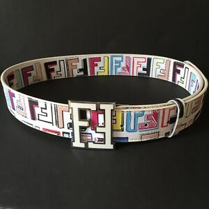 FENDI White Multicolor Belt Mens Size 44/110 Leather F Spell Out Logo Buckle