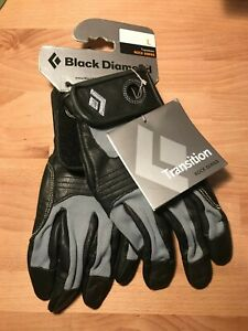 Black Diamond Transition Rock Series Large Climbing Gloves Black/Grey WITH TAGS