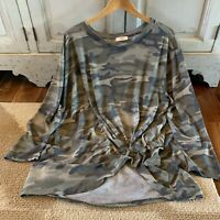 3X USA Made Plus Size Camo Long Sleeve Knot Front Blouse Tunic Top Womens NWT