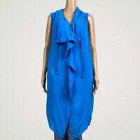 Soft Surroundings Drapey Vest Jacket LARGE Blue Drawstring Collar Asymmetric Zip