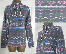 NEW BHS Ladies Fleece Sweatshirt Jumper Top Warm Geometric Grey Pink 8-16