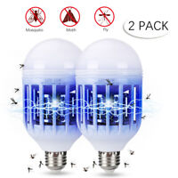 2 Pack Light Zapper LED Lightbulb Bug Mosquito Fly Insect Killer Bulb Lamp Home