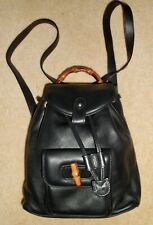 Authentic GUCCI Vintage Black Bamboo Leather Drawstring Mini Backpack