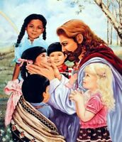 Jesus Christ with Children Religion & Spiritual Wall Decor Art Print (16x20)