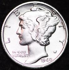 1940-D AU MERCURY DIME / DENVER MINT ALMOST UNCIRCULATED 90% SILVER COIN