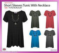 New Ladies Women Short Sleeve Tunic with Necklace Plus Sizes 14-24