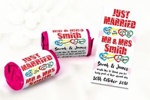 Personalised wedding favours Love Hearts Sweets Mini Love Hearts Just Married #7