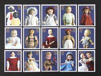 US Year 1997 #3151 American Dolls Complete set of 15 Stamps in Singles Mint NH