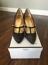Coach - Brown Suede/Patent Leather Heel Size 7