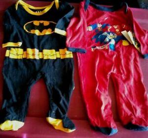 lot 0-3 mo superhero batman superman flash sleeper Outfit Lot baby clothes boys