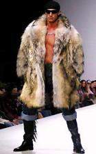 Mens Thicken Mixed Colors Faux Fur Lapel Parka Outwear Jacket Coat US XXL