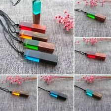 Men Women Charm Colored Resin Wood Pendant Necklace Wooden Jewelry Random