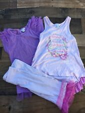 Girls Naartjie Sz 6 Mermaid Pink Purple Putfit Lot Top Capri Pants Ruffle
