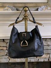 Ralph Lauren Purple Label Black Leather Equestrian Stirrup Hobo Bag