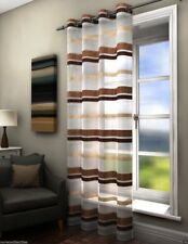 Fife Striped Modern Voile Net Curtain Ready Made Eyelet Ring Top Single Panel