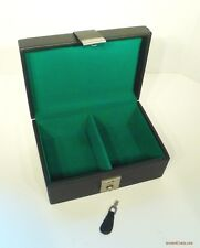 PLUSH CHESS SET CASE, FAUX LEATHER, LARGE BOX WITH LOCK AND KEY 9x6x4 inch (800)