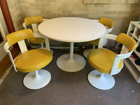 Daystrom Mid-Century Modern Table and Yellow Tulip Chairs