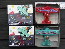 2 ~ Vintage Wind Up TRAINING PLANE Tin Toys MS 011 China in Box ~ FREE SHIPPING
