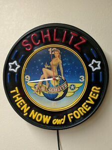 VINTAGE Schlitz Then Now And Forever Military WW2 Lady Light Up Wall Clock