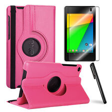 HotPink 360 Rotating Case+Clear Screen Protector+Stylus for Google Nexus 7 2nd.