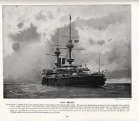 1897 Vittoriano Stampa ~ H.M.S Majestic Nave da Guerra Blu Navy Flagship Canale