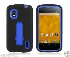 LG Nexus 4 E960 Google Phone Hybrid Armor Case Skin Cover w/ Stand Black Blue