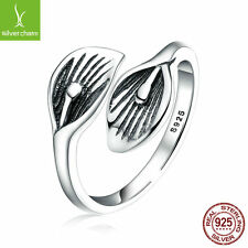 Authentic 925 Sterling Silver Leaf Flower Open Rings for Women Adjustable Ring