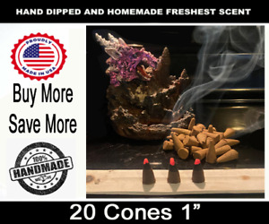 """INCENSE CONES 20 Count 1"""" Hand Dipped  Smudge Cleanse Spiritual Incense Sticks"""