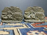 Vintage Stagecoach Coach Western Pair-2 Book Ends Antique Cast Iron Bookends