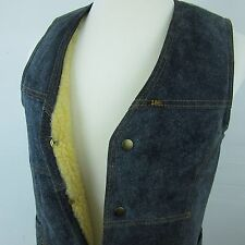 Vintage LEE Storm Rider Blue Suede Patch Sherpa Cowboy Vest Made USA Mens Medium