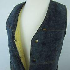Vintage LEE Storm Rider Blue Suede Patch Sherpa Cowboy Vest Made USA Mens Medium