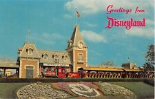 Greetings from Disneyland Postcard Entrance & Red Train