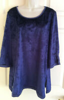 Women's 3/4 Sleeve Velveteen Royal Blue Relaxed Fit Tunic Top Blouse ~ Size L