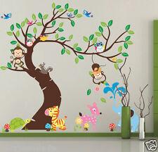 XXXL Wandtattoo Wand Aufkleber Zoo Affe Elefant Eule Baum Vogel Kinderzimmer