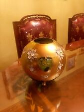 Bohemian Czech Emerald Green 24K Gold Enamel Hand CutCrystal Vase Has Small Chep