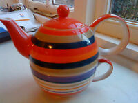 WHITTARD OF CHELSEA, TEAPOT CUP COMBINATION, TEA 4 ONE IN MULTI COLOURED STRIPES
