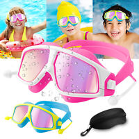 Swimming Goggles Anti-Fog Swim Glasses UV Protection Earplug For Kids Children