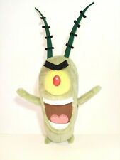 "Spongebob SquarePants Plankton Green Plush Stuffed Animal Soft Bean Bag 9"" EUC"