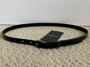 NWT Saint Laurent YSL Fetiche Black Moroder Leather Skinny Belt Sz 85 US 34 $295