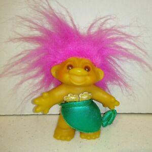 """Vintage DAM Norfin 1986 Troll Doll Mermaid Pink Hair Brown Eyes 5"""""""